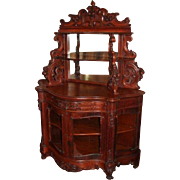 Extraordinary 1860's American Rococo Carved Oak Etagere with Cabinet Base ~ References Suggest either Meeks or Belter