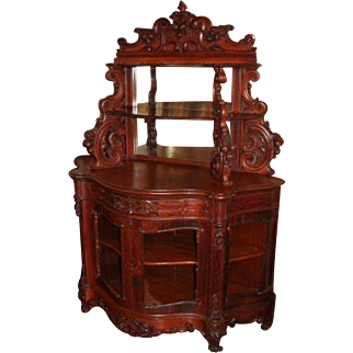 Extraordinary 1860's American Rococo Carved Oak Etagere with Cabinet Base ~ Reference Books Attribute to J and JW Meeks