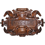 HIghly Carved Oak Hanging Letter Holder