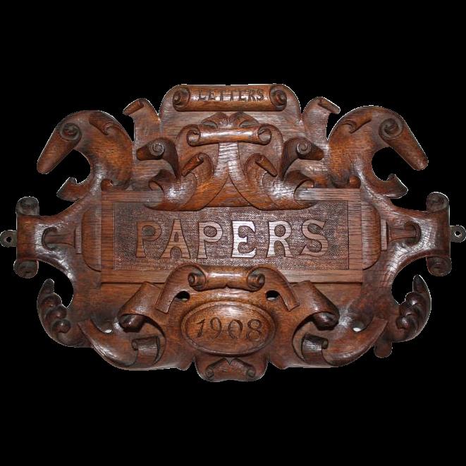 HIghly Carved Oak Hanging Letter Holder