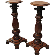 Great Pair of Quartersawn, Fancy Oak Pedestals