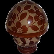 Wonderful Large Heavily Cutback Floral Bellova Glass on Glass Lamp