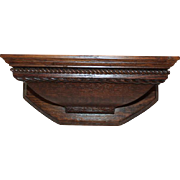 Carved Quartersawn Oak Clock Shelf