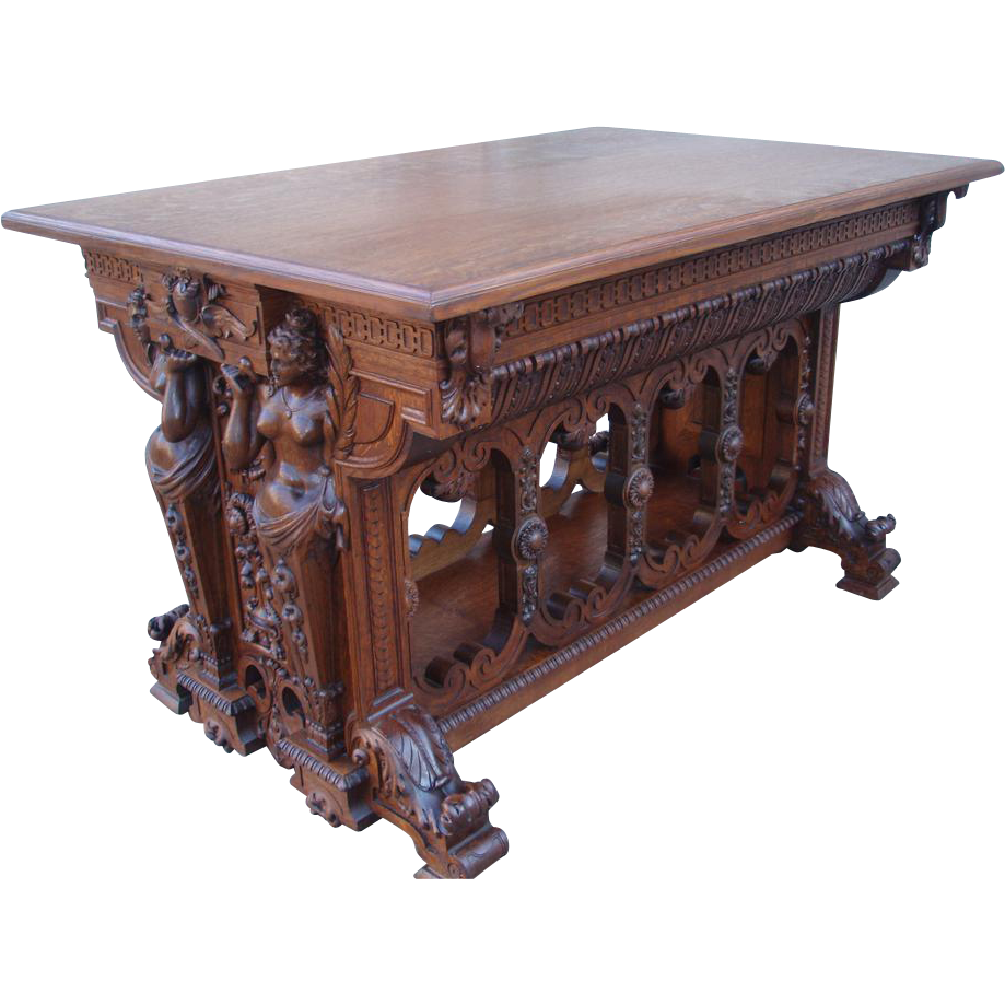 Charmant Magnificent Large And Ornately Carved ANTIQUE Oak Center Table. : B And C  Victorian Antiques | Ruby Lane