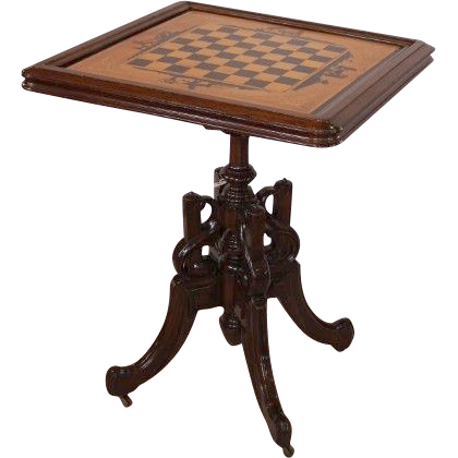 VERY RARE American Rosewood Renaissance  Revival Victorian Tilt Top Game Table