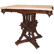 American Walnut Renaissance Revival Victorian Marble Top Table with Original White Marble