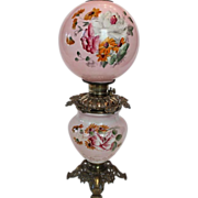 Wonderful Gone with the Wind Oil Lamp ~Hand Painted Masterpiece~ Breathtaking BEAUTY WITH HAND PAINTED ROSES & DAISEYS ~ Outstanding Fancy Ornate Font Spill Ring and Base~ Original Condition ~Original Parts ~ Collector Piece