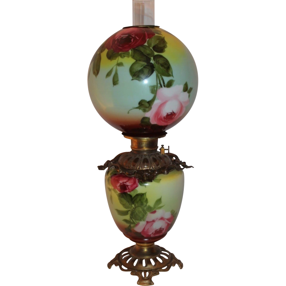 Wonderful RARE Gone with the Wind Oil  Banquet  Lamp ~Hand Painted Masterpiece~ Breathtaking BEAUTY WITH HAND PAINTED ROSES ~ Outstanding Fancy Ornate Font Spill Ring and Base~ Original Condition ~Original Parts ~ Collector Piece