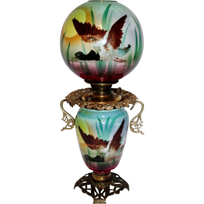 RARE Wonderful Gone with the Wind Oil Banquet Lamp ~Hand Painted Masterpiece~ Ducks in Flight ~ Outstanding Fancy Ornate Font Spill Ring and Base~ Original Condition ~ Collector Piece