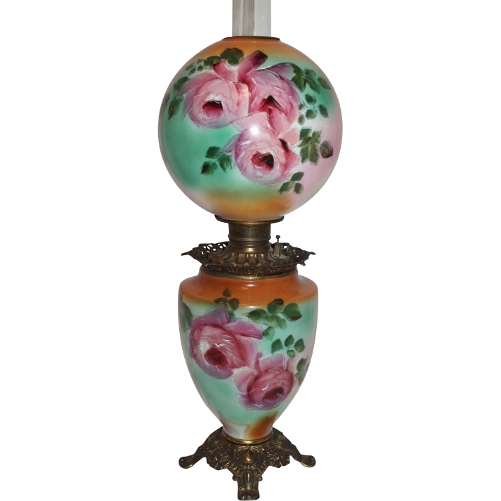LARGE Gone with the Wind Oil Lamp ~Hand Painted Masterpiece~ Breathtaking BEAUTY WITH HAND PAINTED ROSES ~ Outstanding Fancy Ornate Font Spill Ring and Base~ Original Parts