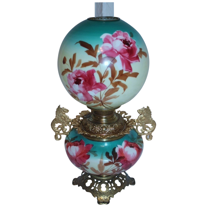 Wonderful RARE Gone with the Wind Oil Banquet Lamp ~Hand Painted Masterpiece~ Breathtaking BEAUTY WITH HAND PAINTED ROSES ~ Outstanding Fancy Ornate Kerosene Font Spill Ring and Base~ Original Parts
