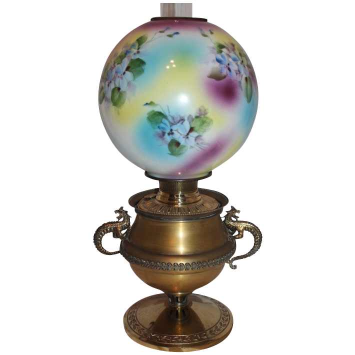 Wonderful RARE Bradley Hubbard Dragon Handled Banquet Oil Lamp ~Original Hand Painted Masterpiece Shade with Violets~ Outstanding Fancy Brass Base~ Original Parts