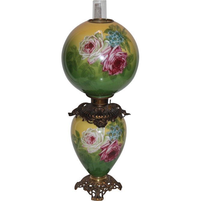 "LARGE Gone with the Wind Oil Lamp ~11"" SHADE~Masterpiece Breathtaking BEAUTY WITH HAND PAINTED ROSES ~ Outstanding Fancy Ornate Font Spill Ring and Base~ Original Condition ~Original Parts ~ Collector Piece ~ Master Artistry"