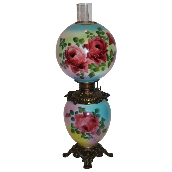 Late 1800's ~Gone with the Wind Oil Banquet Lamp~Masterpiece Breathtaking BEAUTY WITH HAND PAINTED ROSES ~ Outstanding Fancy Ornate Kerosene Font Spill Ring and Base~ Original Condition ~Original Parts ~ Collector Piece ~ Master Artistry