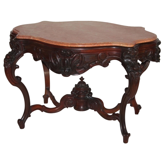 WOW!!  EXCEPTIONAL 1850's Rococo Rosewood Victorian Center Table attrib. to Alexander Roux ~ Magnificent Piece of Fine Antique Furniture