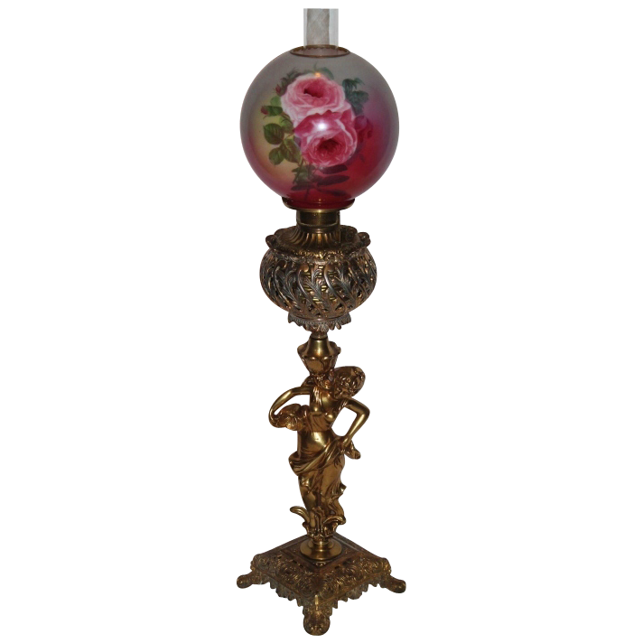 VERY RARE Outstanding Figural Banquet Oil Lamp ~ Original Shade with Hand Painted Roses ~ Breathtaking BEAUTY ~ Outstanding Fancy Ornate Font  and Base