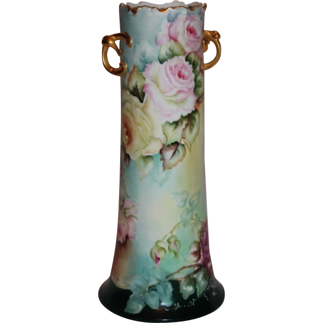 Wonderful William Guerin Limoges Hand Painted Twisted Handle Vase ~ Breathtaking HAND PAINTED ROSES ~ Full Stunning Still Life Paintings on Porcelain All Around the Vase~ Magnificent Piece of Fine Art ~ Collector's DREAM!!!