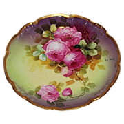 "Beautiful JPL Limoges 10 1/2 Hand Painted Porcelain Wall Charger  with Roses, Artist Signed, ""Le Rey"""