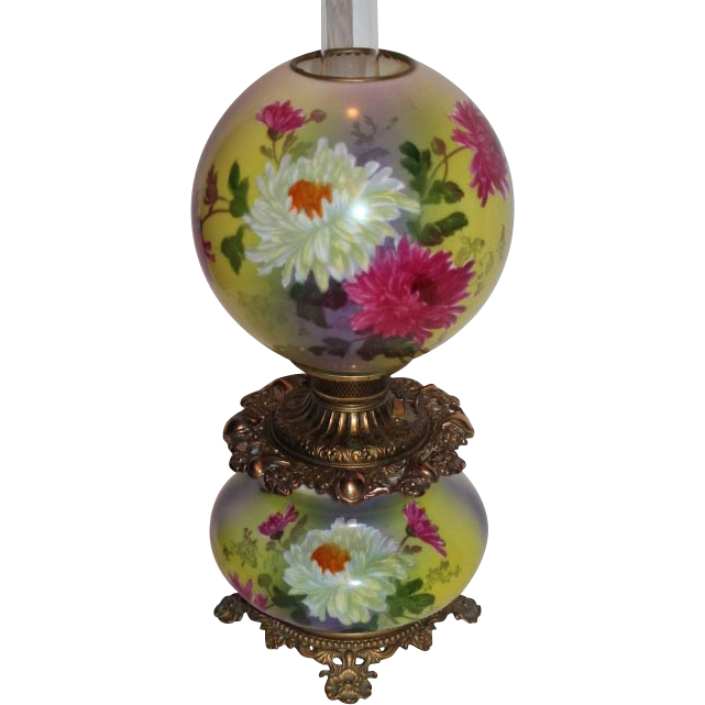 Wonderful Gone with the Wind Oil Lamp ~RARE Colors and Beautiful Hand Painted Mums~ Outstanding Fancy Ornate Font Spill Ring and Base~ Original Condition ~Original Parts ~ Collector Piece ~ Master Artistry