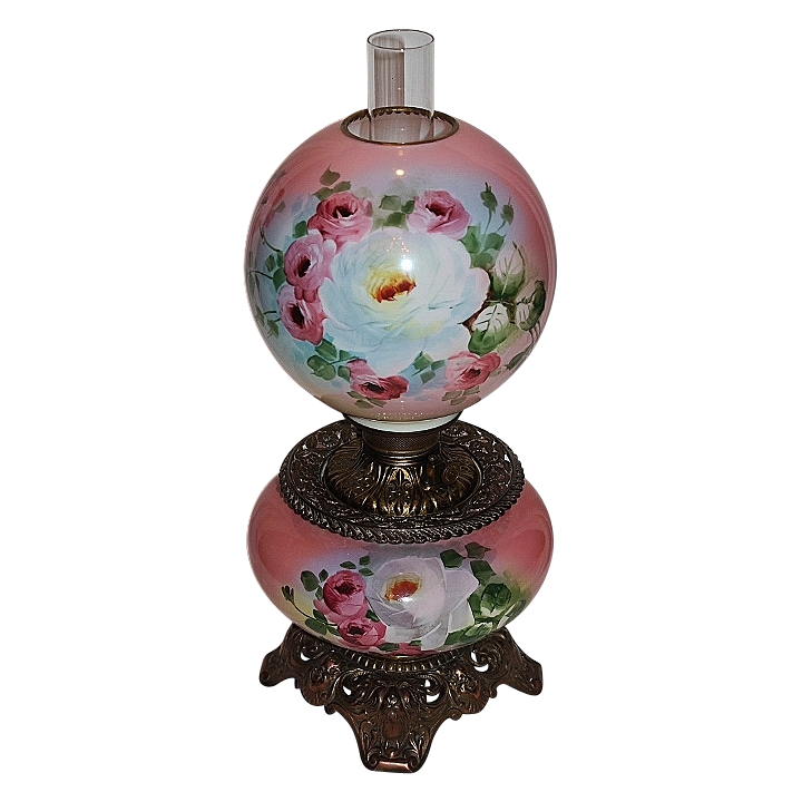 Wonderful Gone with the Wind Oil Lamp ~Hand Painted Masterpiece~ Breathtaking BEAUTY WITH HAND PAINTED ROSES ~ Outstanding Fancy Ornate Font Spill Ring and Base~ Original Parts