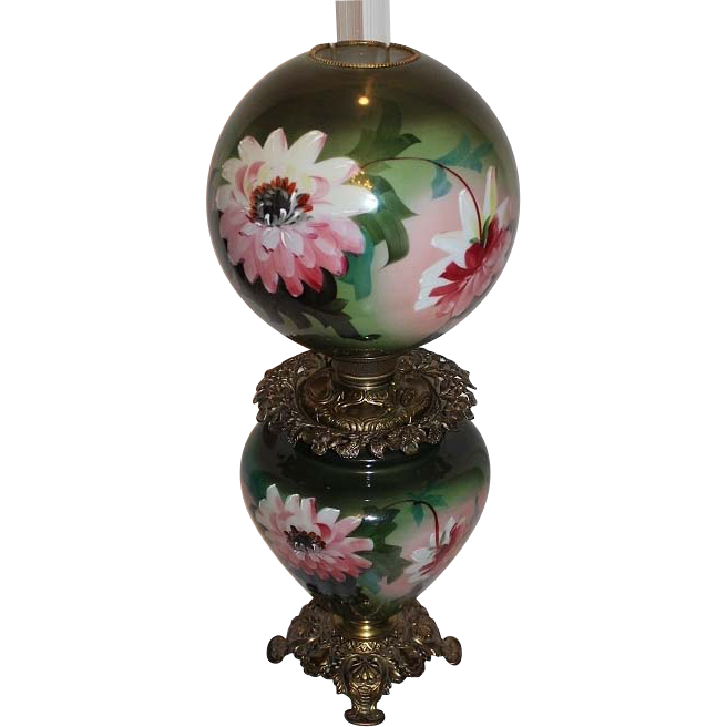 "Museum Quality ~ HUGE Gone with the Wind Kerosene Banquet Lamp  ~RARE 12"" SHADE~Masterpiece BEAUTY WITH HAND PAINTED FLOWERS~ Outstanding Fancy Ornate Oil Font Spill Ring and Base~ Original Condition ~Original Parts ~ Master Artistry"