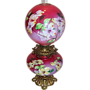 "Museum Quality ~ HUGE Gone with the Wind Oil Lamp ~RARE 13"" SHADE~Masterpiece Breathtaking BEAUTY WITH HAND PAINTED DOGWOODS ~ Outstanding Fancy Ornate Font Spill Ring and Base~ Original Condition ~Original Parts ~ Master Artistry"