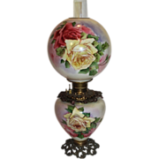Museum Quality BEAUTIFUL Gone with the Wind Kerosene Banquet Lamp ~Masterpiece Breathtaking BEAUTY WITH HAND PAINTED ROSES~ Outstanding Fancy Ornate Font Spill Ring and Base~ Original Condition ~Original Parts
