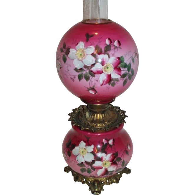 Museum Quality BEAUTIFUL Gone with the Wind Kerosene Banquet Lamp ~Masterpiece Breathtaking BEAUTY WITH HAND PAINTED WILD ROSES~ Outstanding Fancy Ornate Font Spill Ring and Base~ Original Condition ~Original Parts