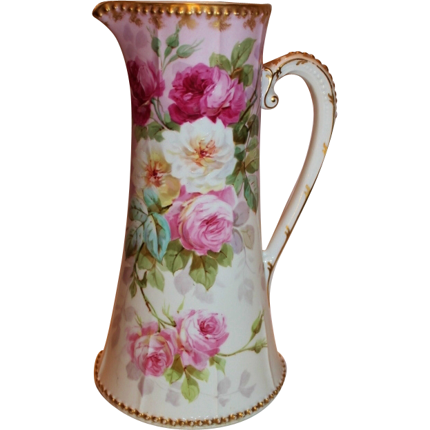 "MUSEUM QUALITY VERY RARE HUGE  Bawo & Dotter (Elite Works)  Limoges Water Pitcher~ ""BREATHTAKING ROSES"" ~1900 to 1918 ~Gorgeous Antique Limoges France Hand Painted Victorian Treasure Collector Piece ~Master Artistry on RARE Limoges Blank"
