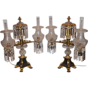 RARE EXCEPTIONAL Pair of ANTIQUE Double Armed Bronze and Crystal Argand Lamps,~Early 1800's~ ORIGINAL SHADES ~ Johnston Brooks & Co Manufacturer London~ Later Electrification