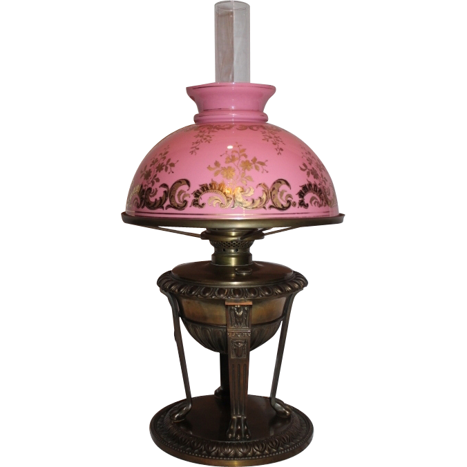 Outstanding Victorian Banquet Lamp ~ RARE Original Shade Cased Glass Shade ~ Breathtaking BEAUTY ~ Outstanding Fancy Ornate Font and Base ~ Converted to Electricity