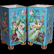 MUSEUM QUALITY ~VERY RARE Exquisite Pair of 1850's Antique Paris Porcelain Vases ~BEAUTIFUL Hand Painted ROSES!