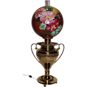 RARE HUGE SIZE EXCEPTIONAL Banquet Lamp ~Wonderful Old Original Hand Painted Shade with Flowers~Electrified