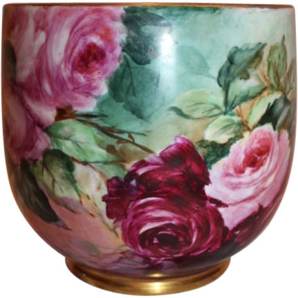 Outstanding W.G. & Co Limoges Jardiniere with Roses