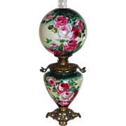 "Museum Quality ~LARGE Gone with the Wind Oil Lamp ~11"" SHADE~Masterpiece Breathtaking BEAUTY WITH HAND PAINTED ROSES ~ Outstanding Fancy Ornate Font Spill Ring and Base~ Original Condition ~Original Parts ~ Collector Piece ~ Master Artistry"