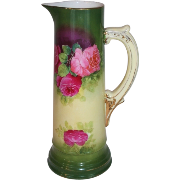 "Wonderful 1920""s Vintage German Hand Painted Tankard ~ Beautiful Roses~13 5/8 Tall"