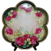 "Wonderful 1920""s Large Vintage German Hand Painted Tray ~ Beautiful Roses~Measures 15 1/8"""