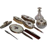 WOW!! Museum Quality ~ VERY RARE R. Blackinton & Company Complete 9 Piece Sterling & Guilloche Enamel Dresser Set ~ American Brilliant Glass Perfume & Powder Box Signed Hawkes  ~ Collectors Dream Pieces