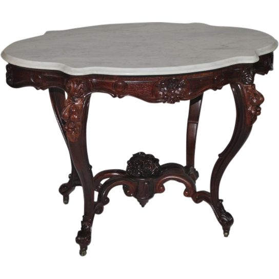 WOW!! OUTSTANDING 1850's Rococo Rosewood Victorian Center Table  ~ RARE SIZE & SHAPE ~ Large Carved Basket of Roses  ~ Magnificent Piece of Fine Antique Furniture
