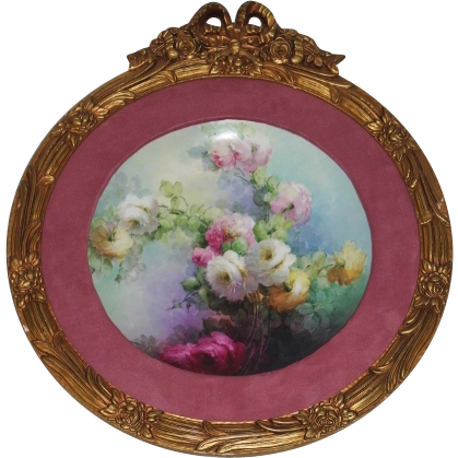 Breathtaking Huge Hand Painted Roses Porcelain Plaque