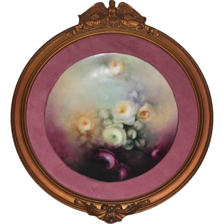 Breathtaking HAND PAINTED ROSES ~OUTSTANDING HAND CARVED ANTIQUE FRAME ~ Museum Quality Masterpiece Limoges France Stunning Still Life Painting on Porcelain ~ Martial Redon Factory Circa 1905 – 1918.