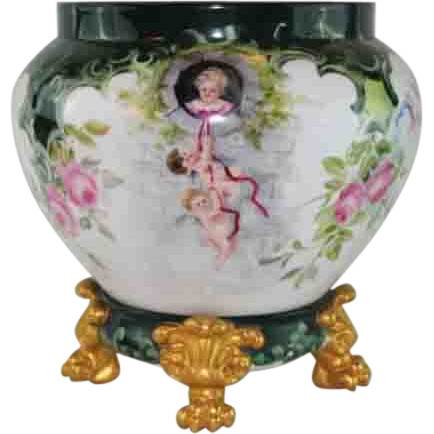 VERY IMPORTANT HUGE Hand Painted Limoges Jardiniere and Limoges Plinth Base~ Fairy Tale Rapunzel Story w/ Cherubs on Porcelain ~ Signed by Artist ~Painted on ALL SIDES of the Jardiniere~ Magnificent Piece of Fine Art ~ Collector's DREAM!!!