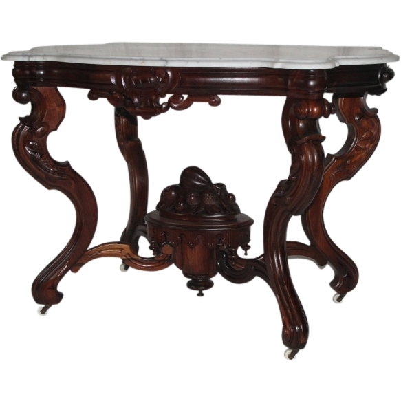 WOW! Outstanding 1860's Rococo Rosewood  Marble Top Victorian Center Table ~ Made by  Mitchell & Rammelsberg for W. P. Huffman ~ Large Carved Basket of Fruit and Flowers