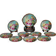 "OUTSTANDING LIMOGES French Tea Roses Antique 19 Piece Lunch or Desert Service Set ~ All Artist Signed by the VERY FAMOUS Listed Artist ""DUVAL"" ~ Completely Handpainted Handmade Artistry CLASSICAL FRENCH STILL LIFE With ROSES"