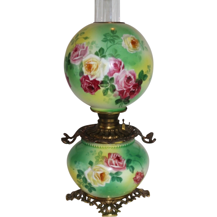 WOW!! BEAUTIFUL Gone with the Wind Kerosene Banquet Lamp ~Masterpiece Breathtaking BEAUTY WITH HAND PAINTED ROSES~ Outstanding Fancy Ornate Handled Font Spill Ring and Base~ Original Condition ~Original Parts