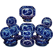 "WOW!! 34 Piece Set of Antique 1890'S B&L England ""Lahore"" Pattern Flow Blue Set ~ Outstanding Service for SIX with Serving Pieces~ Includes VERY RARE Pasta/Salad/Soup Bowls - Red Tag Sale Item"