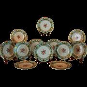 "Museum Quality ~ Rare 12pc Antique 1862 Minton 9 1/8"" Dinner Plate Set  ~ 100% Hand Painted, Raised 18k Gold Enamel & Birds"
