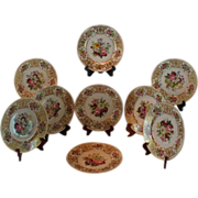 "Wonderful Set of 9 French LIMOGES 10"" Dinner Plates  ~ All Artist Signed  ~ Completely Hand Painted CLASSICAL FRENCH STILL LIFE With ROSES"