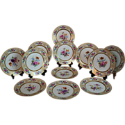 "Wonderful Set of 12 French LIMOGES 9 3/4"" Dinner Plates ~ Circa 1900 to 1932 ~ Completely Hand Painted CLASSICAL FRENCH STILL LIFE With ROSES"