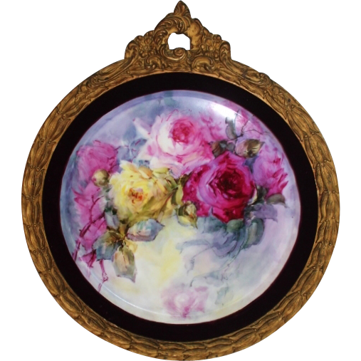 Breathtaking HUGE HAND PAINTED ROSES ~OUTSTANDING HAND CARVED ANTIQUE FRENCH FRAME ~ Museum Quality Masterpiece Limoges France Stunning Still Life Painting on Porcelain ~  T&V Factory Circa 1892 – 1907 ~ Wine Velvet Matting